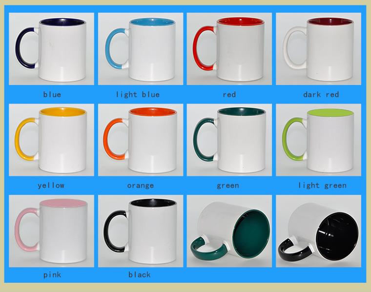فروش لیوان دسته و داخل رنگی،لیوان سابلیمیشن،لیوان خام رنگی سابلیمیشن